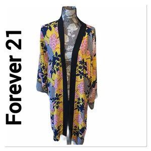FOREVER 21 Yellow Floral Kimono size medium